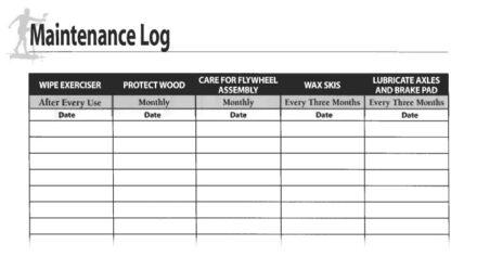 NordicTrack Ski Machine Maintenance Log Sheet