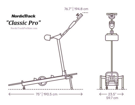 NordicTrack Skier Dimensions for Classic Pro Ski Machine